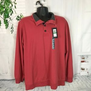 NWT Mens Saltwater Red IZOD 1/4 Button L/S Sweater
